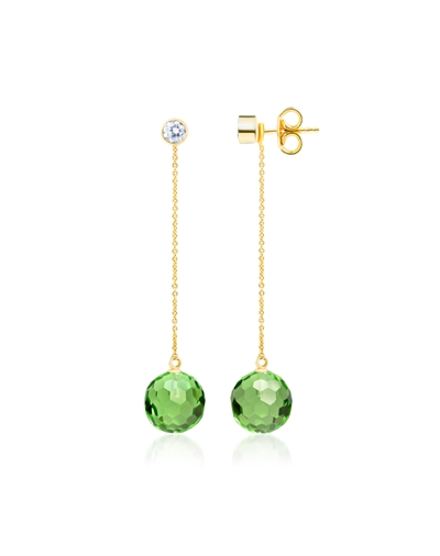 Green Hoi An Earrings with chain