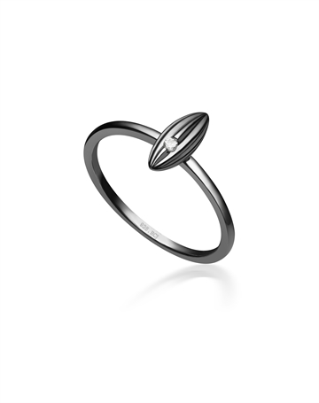Sort Rhodineret Sterlingsølv ring