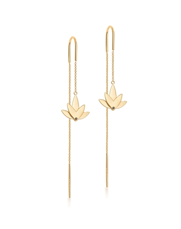 Lotus Earrings with chain