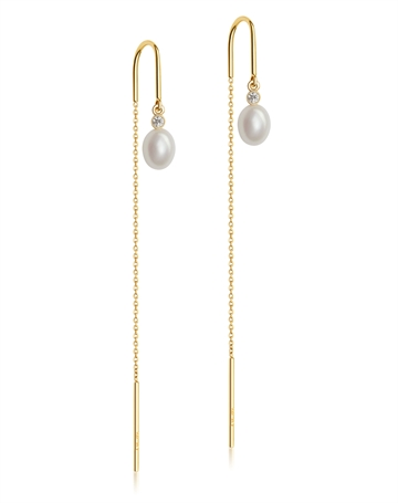 Drop Pearl Earrings with chain