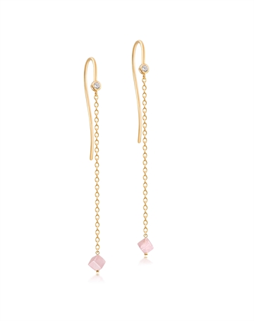 Rose Quartz Harmony Earrings with chain