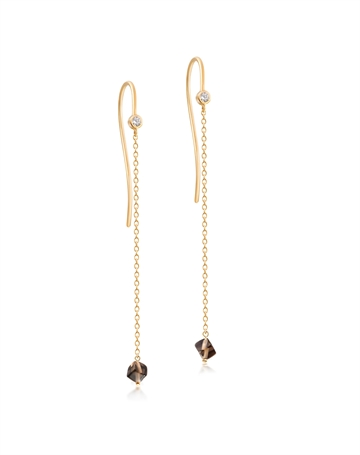 Smokey Quartz Harmony Earrings with chain
